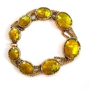 Vintage Monet Green and Gold Bracelet